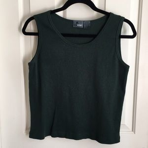 3/$25 Liz Claiborne Forest Green Ribbed Tank Sz MP